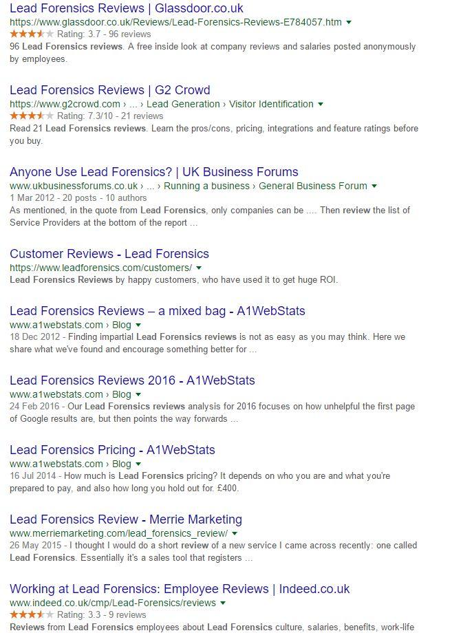 Lead Forensics Reviews Google Organic