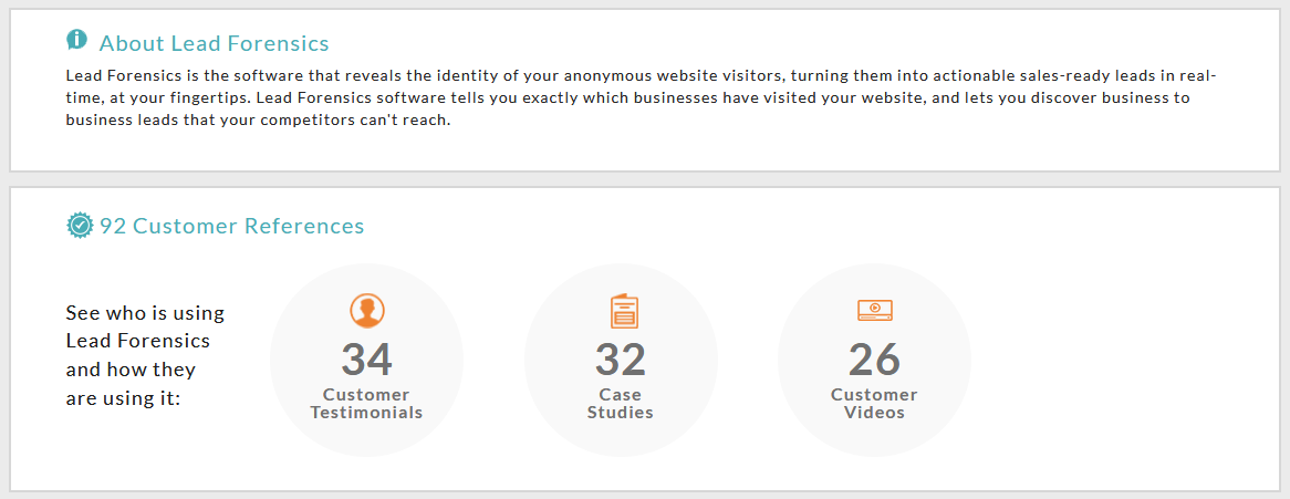 Lead Forensics Featured Customers review view