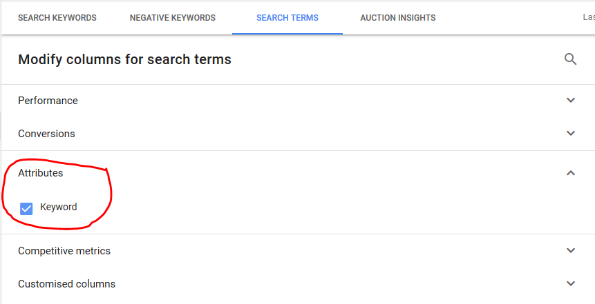 Google Ads Search Terms 101 step 7b