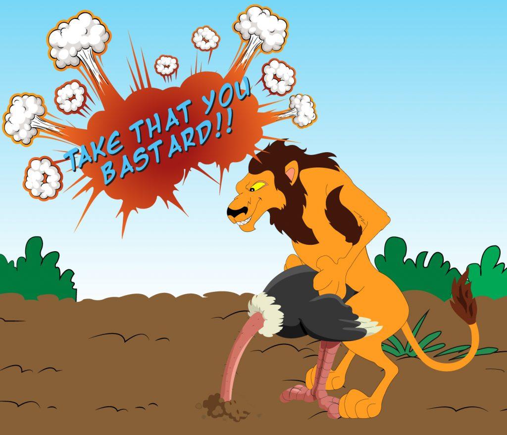 Lion taking advantage of ostrich