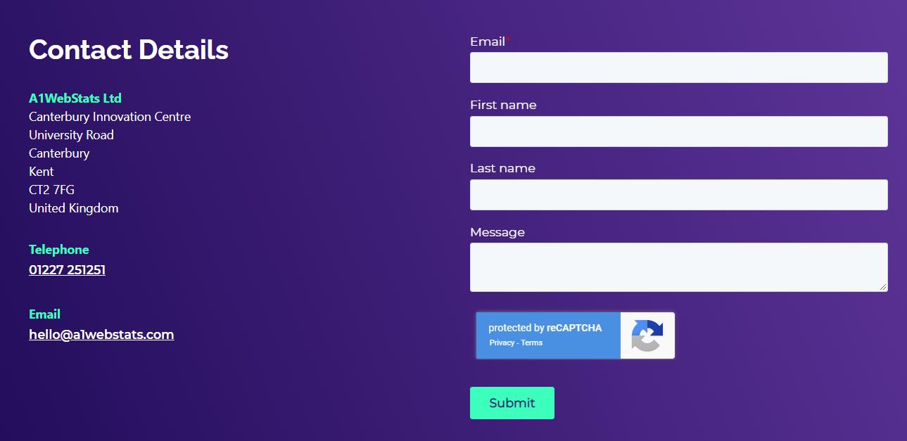A1WebStats contact page options