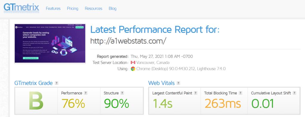 A1WebStats site speed