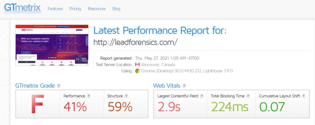 Lead Forensics site speed