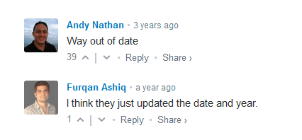 Image showing people's comments about the outdated article