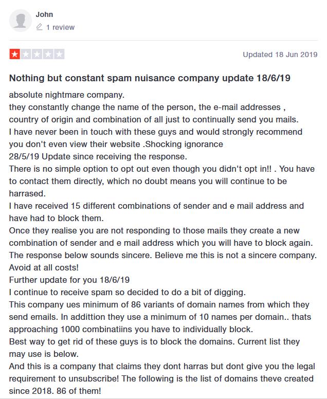 lead forensics complaint 18 June 2019 trustpilot