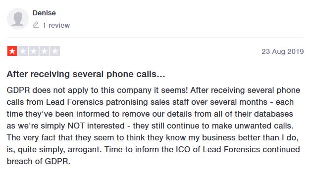 lead forensics complaint 23 August 2019 trustpilot