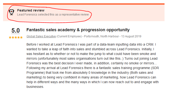 lead forensics indeed representative review