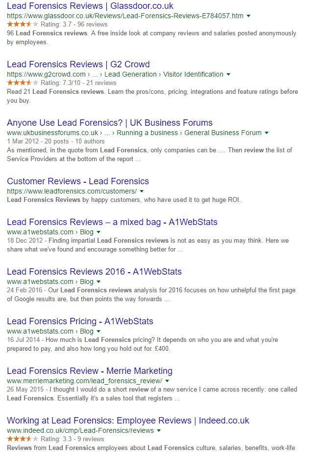 Lead Forensics Reviews Google Organic