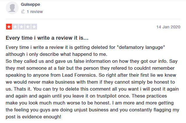 lead forensics suppressed review trustpilot2